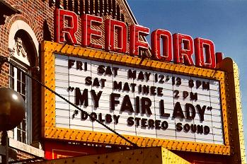 Redford Theatre's current marquee